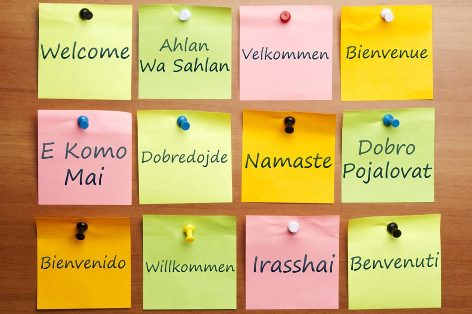 Welcome word in 12 languages