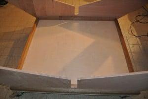 Das Cradle auf einer 18 mm- Tischlerplatte mit umlaufender Lattung