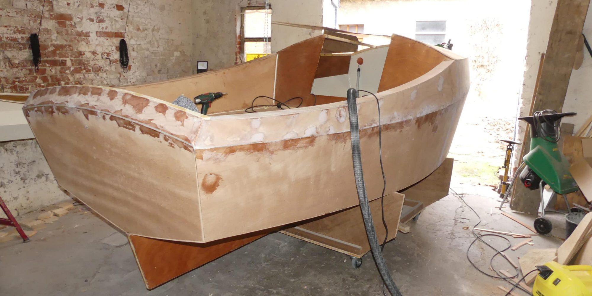 Fertig montierter Bootskörper